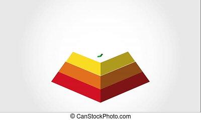 video, ożywienie, piramida, projektować, ikona