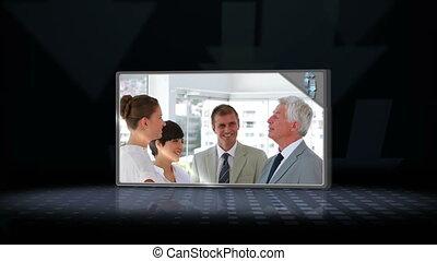 video, od, handlowy zaludniają, rozmawianie