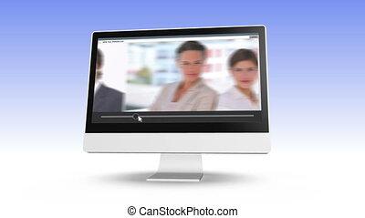 video, od, handlowy zaprzęg, przedstawianie
