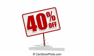 Video of 40 % discount sign