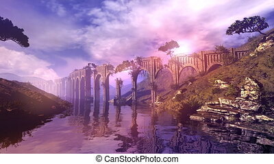 Animated fantastic landscape with a river and an aqueduct.