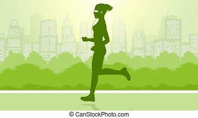 Video of a girl running in green