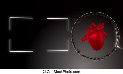 Video of a heart beating against bl - Animation of a heart...