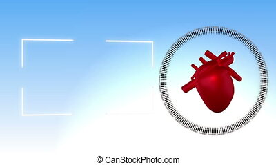 Video of a heart beating against sk - Animation of a heart...