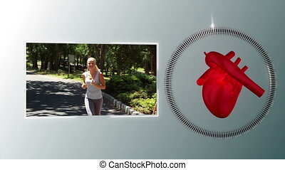 Video of a woman jogging with a hea