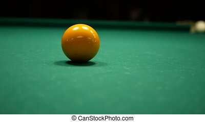 Video of Billiards game. Shot at the yellow ball. 4k UHD video footage