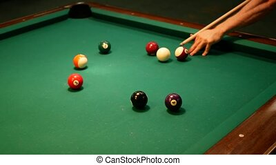 Video of Billiards Pool. Shot at the ball.