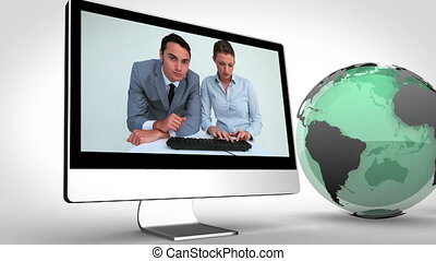 Video of business with Earth image