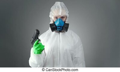 Video of doctor in protective suit during epidemic