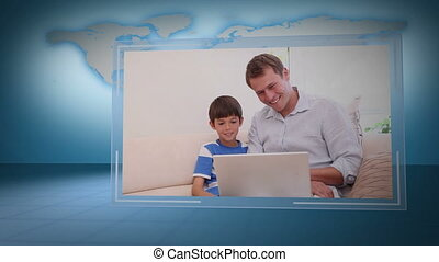 Video of family looking a laptop wi - Animation of family...