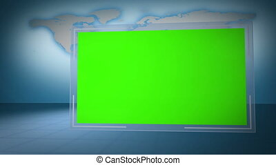 Video of green chroma key with Eart - Animation of green...