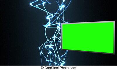 Video of green screens with light b