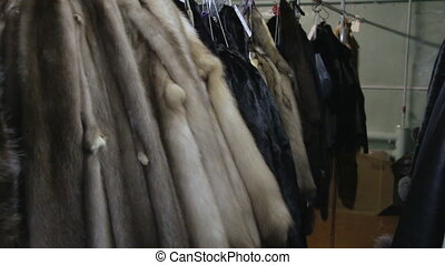 Video of hanging mink's pelts - Footage of hanging mink's...