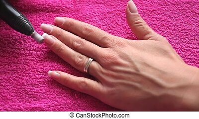 Manicure - Video of Manicure of a female hand