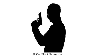 Video of man's silhouette on isolated white background