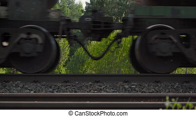 Video of moving freight train on the railway station