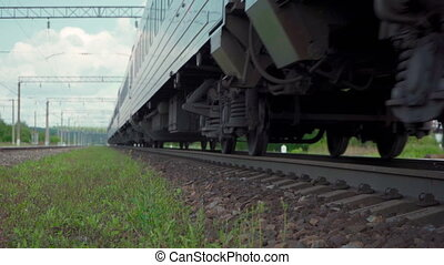 Video of moving passenger train on the railway