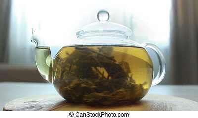 video of Process of brewing green Chinese tea in a glass teapot