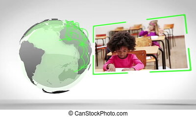 Video of school next to an Earth im - Animation of school...