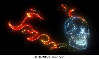 video of skull falling with fire flame