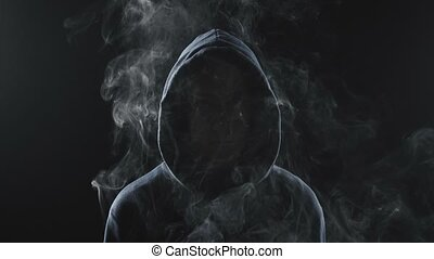 Video of smoker woman in the shadow