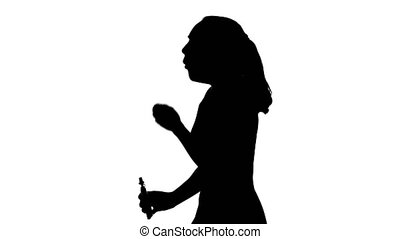 Video of woman's silhouette on isolated white background