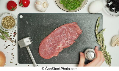 Video of hand made cooking of meat in kitchen