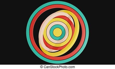 Video of the rotation of multicolored circles. Looped video ...