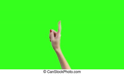 Video of threatening female forefinger on green background...
