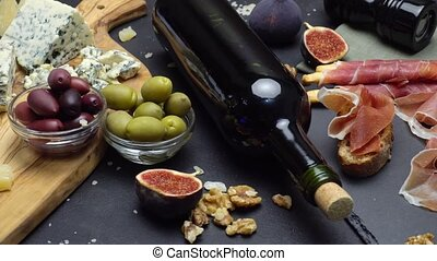 Video of Traditional italian food and wine - parmesan and...