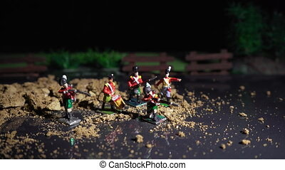 Video of tin soldiers and war reconstruction