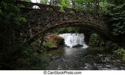 Video of Whatcom Falls with a old stone bridge with moss and...