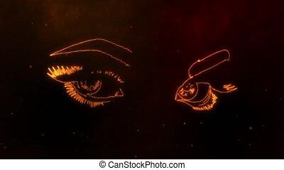 digital animation of woman eyes