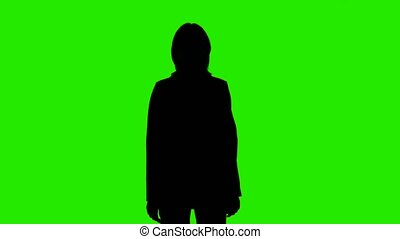Video of woman's silhouette in suit jacket with applause on green background