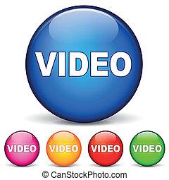 video, okrągły, ikony