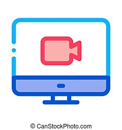 Video On Display Icon Vector Outline Illustration