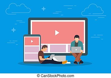 Video on the device concept illustration. Young people using mobile gadgets such as tablet pc and smartphone for viewing video in Internet. Flat big letters chat and guys and women standing near.