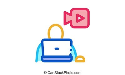 video operator Icon Animation. color video operator animated icon on white background