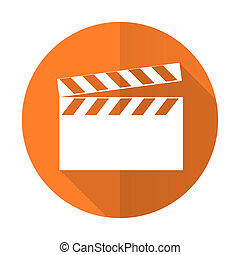 video orange flat icon cinema sign