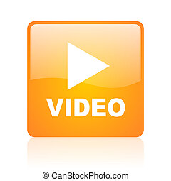 video orange square glossy web icon