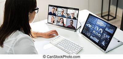 video, osservare, conferenza, webinar, affari