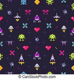 video, oud, arcade, pattern., seamless, illustratie, pixels, spel, vector, spelen, retro, achtergrond, kunst, pixel, gokken