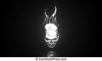 video, płomienie, czaszka, ożywienie