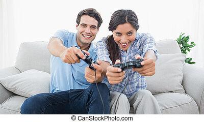 video, paar, spiele, c, spielende