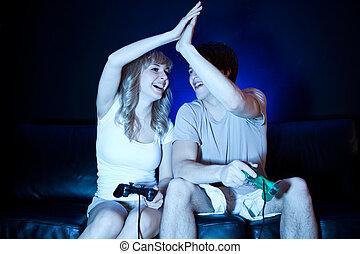 video, paar, spiele, spielende