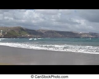 Canary Islands Beach - video panorama view of Canary Islands...