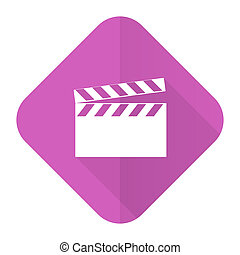 video pink flat icon cinema sign