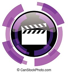 Video pink violet modern design vector web and smartphone icon. Round button in eps 10 isolated on white background.