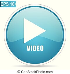 Video play blue glossy round vector icon in eps 10. Editable modern design internet button on white background.