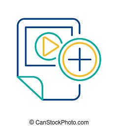 Video player blue and yellow linear icon